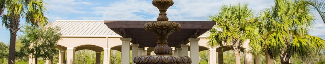 Decorative fountain outside